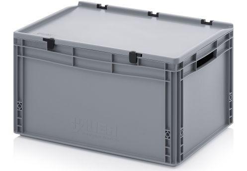 Kunststoffbehälter geschlossen mit Scharnierdeckel 600x400x335 Silbergrau